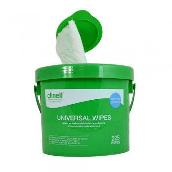 CLINELL UNIVERSAL WIPES BUCKET 225 (BOTE + TOALLITAS DESINFECTANTES SUPERF.)